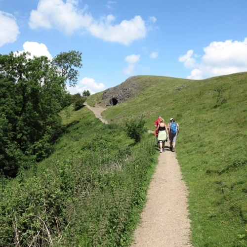 Guided walking in Malvern Hills - on a hill footpath below the ridge line