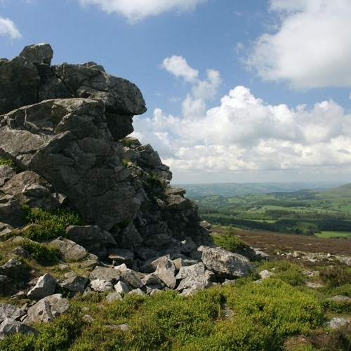 Guided walking in Shropshire Hills - the Lion rock on the Stiperstones
