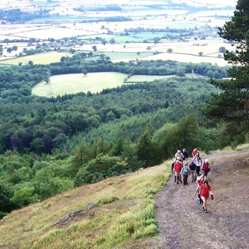 Guided walking in Shropshire Hills - to Sunny Hill and Bury Ditches Hill fort