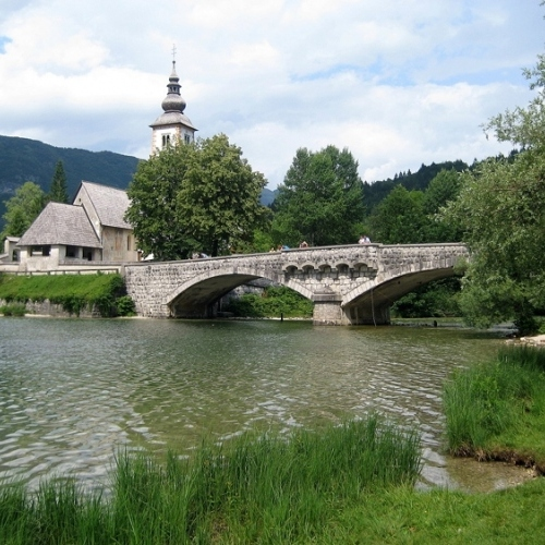 Guided walking in Slovenia- Slovenia - bridge at Ribcev Laz